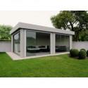 Tuinhuis met glasgordijn